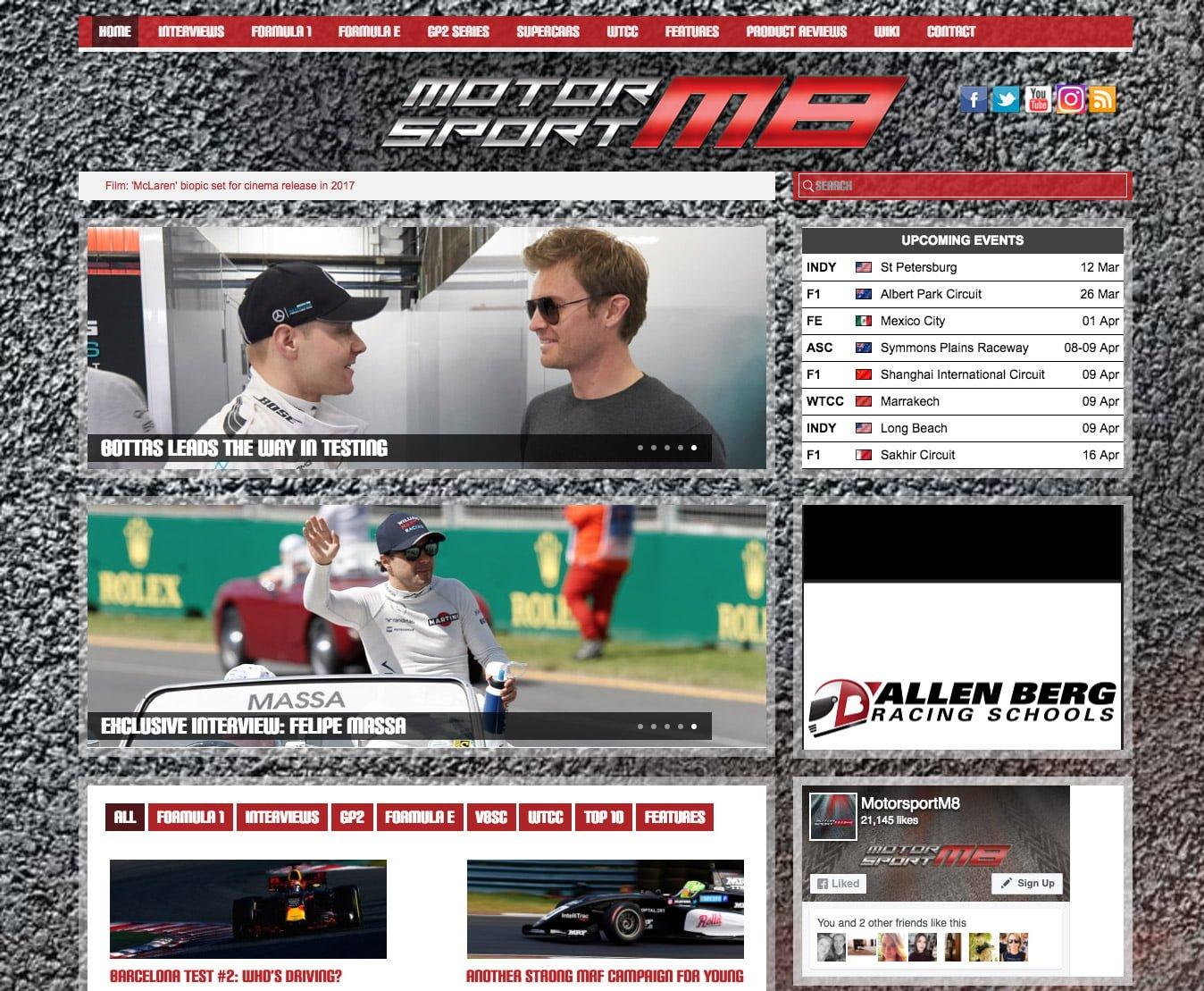 MotorsportM8 WordPress HOmepage