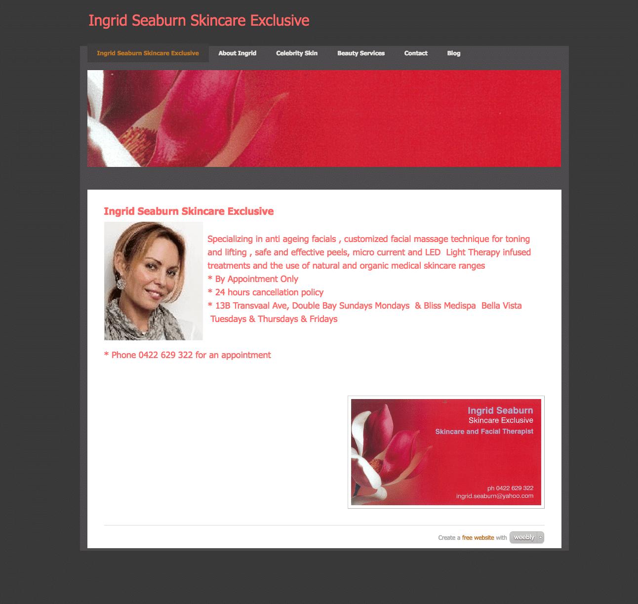 Ingrid Seaburn Skincare Weebly homepage