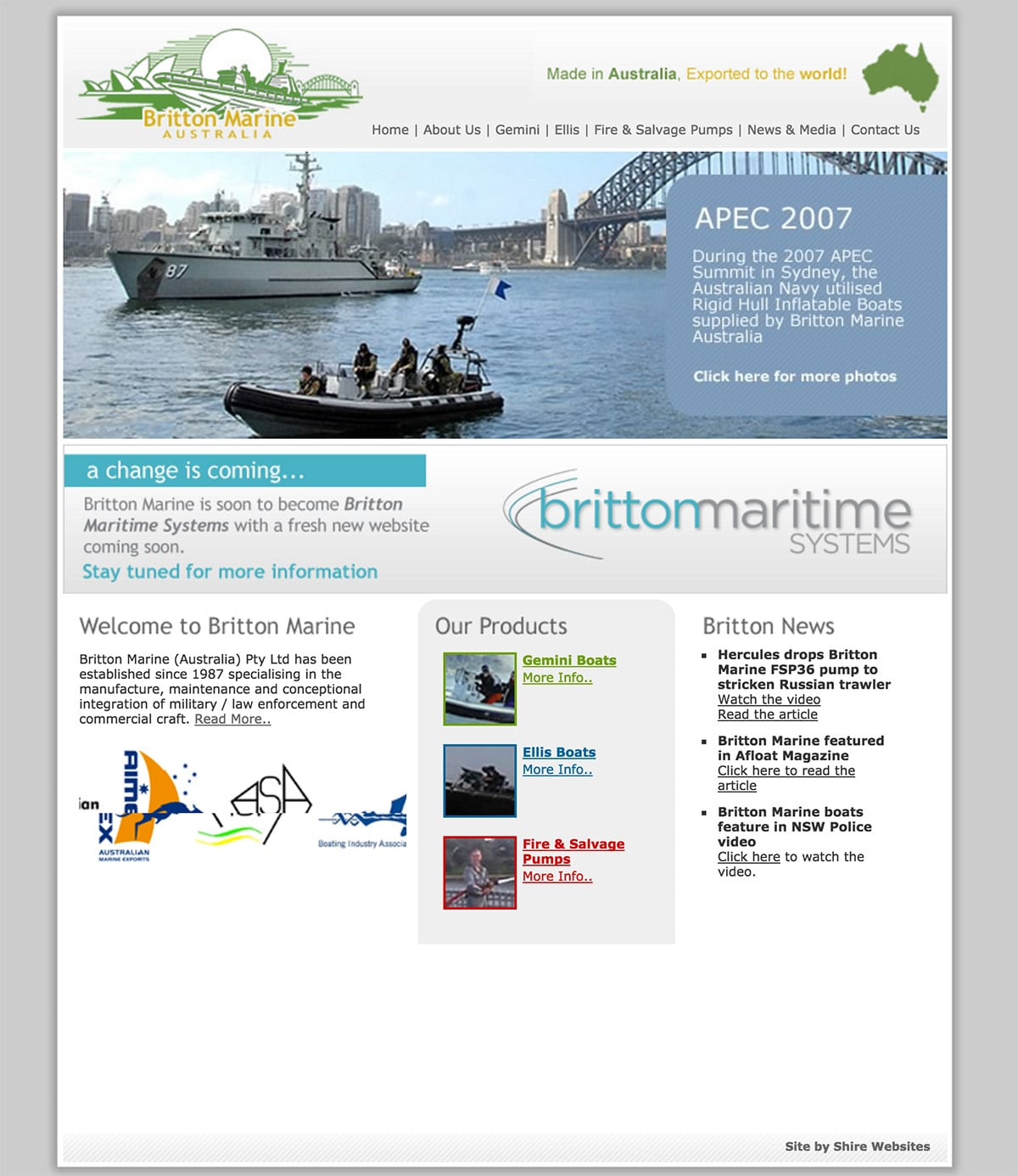 Britton Maritime Old HTML Homepage